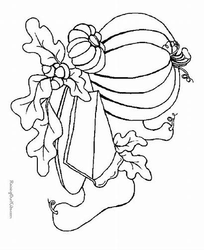 Coloring Thanksgiving Pages Dinner Pumpkin Printable Foods