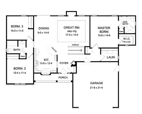 One Story House Plans With Large Kitchens by 3 Bedroom Ranch Floor Plans Open Floor Plan проекты