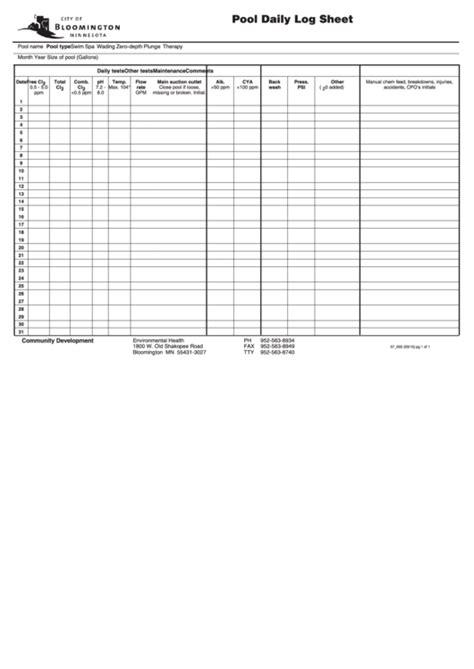 pool daily log sheet printable