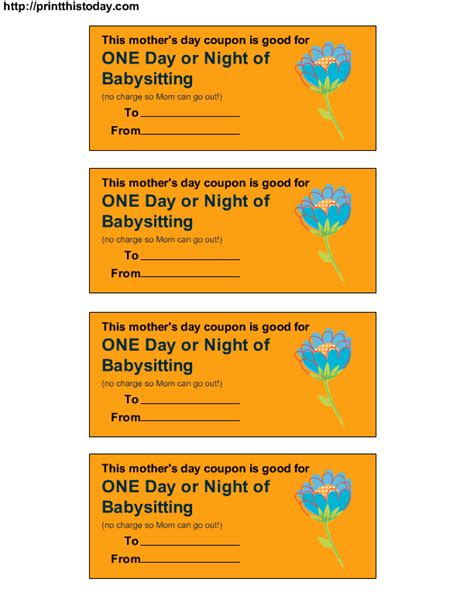 babysitting coupon template babysitting voucher gift template