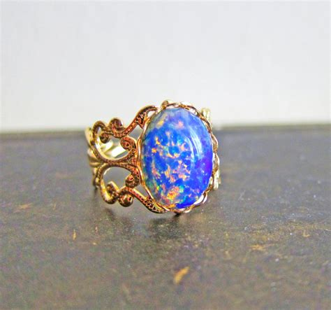 Opel Rings by Opal Ring Opal Ring Gift Harlequin Opal Ring Vintage