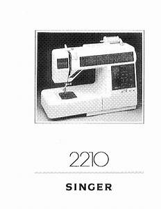 Singer 2210 Embroidery  Serger Owners Manual