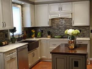 L shaped brown painted wooden kitchen cabinets grey for Kitchen colors with white cabinets with hawaiian wall art wood