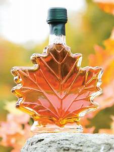 Pure Vermont Maple Syrup In Leaf Glass Bottle