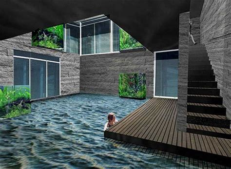 cool courtyard pool idea  windows   room   earthship home underground