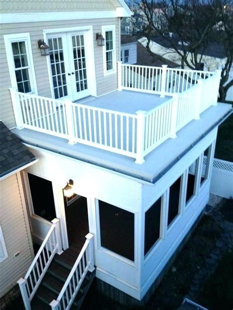 flat roof deck rooftop material options entryway addition  google search decking home design