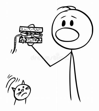Sandwich Cartoon Mouse Drawing Eating Binnen Een