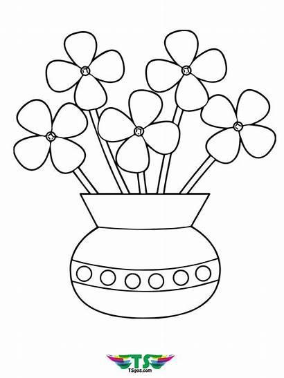 Vase Coloring Flowers Printable Tsgos Flower Unicorn