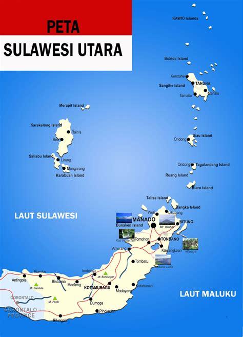 peta provinsi sulawesi utara lengkap 11 kabupaten dan 4 kota sejarah negara com