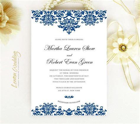 PRINTED Royal blue wedding invitation set Lace wedding