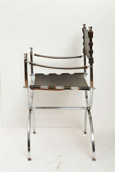 iron and leather chair for sale at 1stdibs