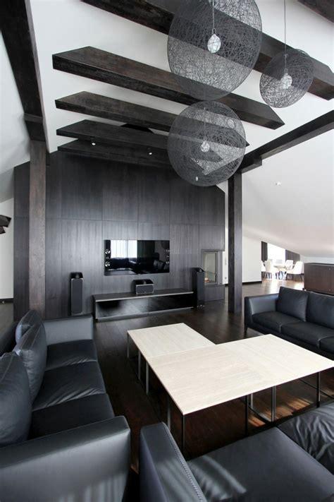 chambre poutre apparente appartement moderne aménagé dans les combles d un immeuble