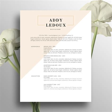 creative resume template cover letter word us letter