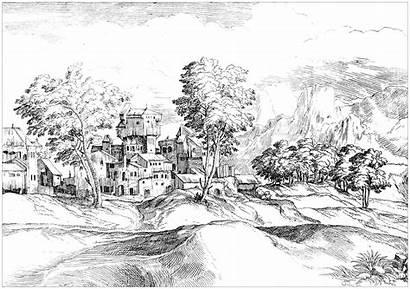 Coloring Landscape Century 17th Pages Adult Landscapes