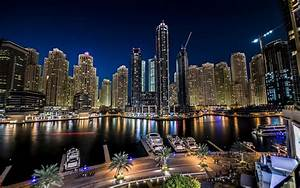 Dubai, Marina, Night, Light, City, Landscape, United, Arab, Emirates, Ultra, Hd, Wallpaper, For, Desktop