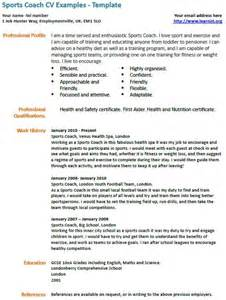sport coach resume templates sports coach cv exle learnist org
