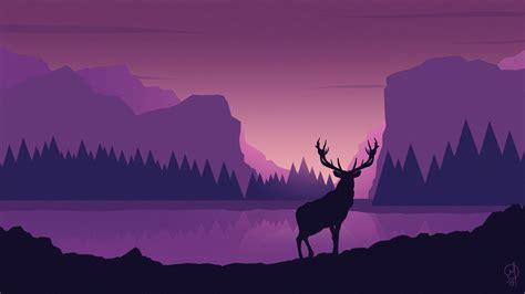 wallpaper  deer art vector mountains