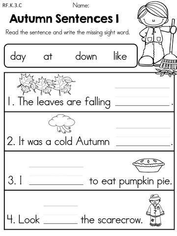 8 best images of kindergarten sentence worksheets 679 | kindergarten language arts worksheets printable 2691