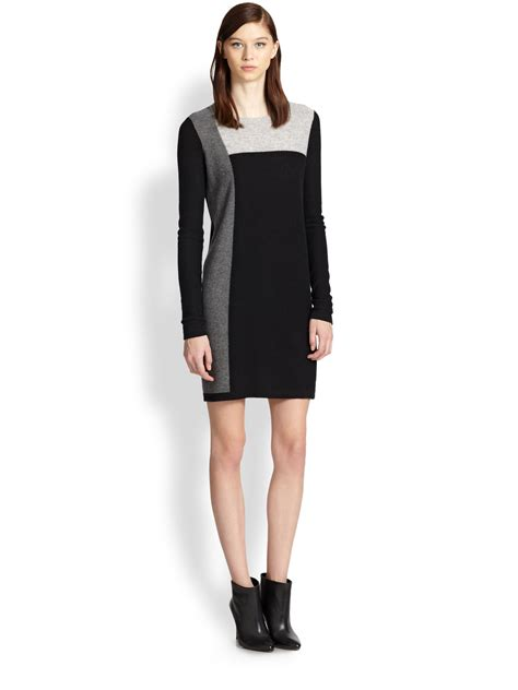 colored sweater dress vince colorblock sweater dress in black lyst