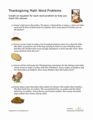 thanksgiving word problems worksheet educationcom