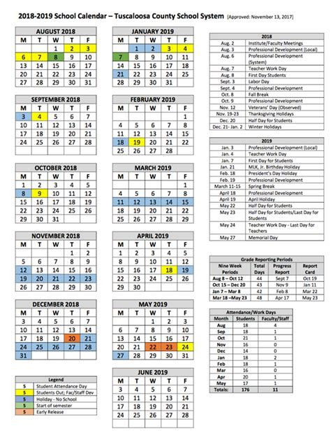 tuscaloosa county school calendar world printable chart