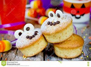 Halloween Funny Monster Muffins With Chocolate Eyes For