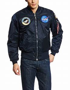 Alpha Industries Men's NASA MA-1 Bomber Replica Blue ...