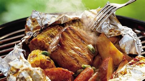 Pork loin may not be as apt to dry out, but covering your pan with foil while roasting helps the meat retain its read more: Grilled Honey-Barbecue Pork Foil Packs recipe from Betty Crocker