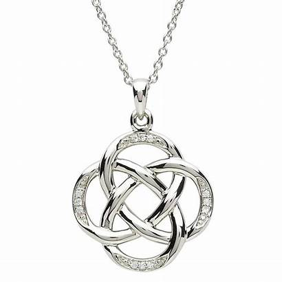Celtic Knot Pendant Necklace Silver Stone Gold