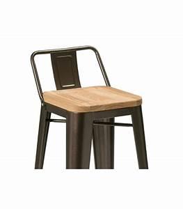 Chaise De Bar Metal : chaise de bar en m tal noir et assie en bois de fr ne style industriel ~ Teatrodelosmanantiales.com Idées de Décoration