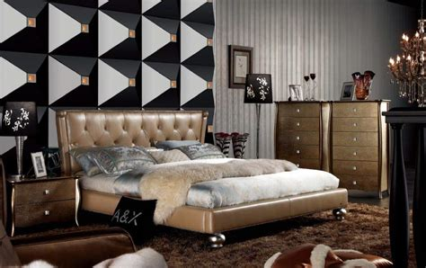 extravagant leather high  bedroom sets feat gold