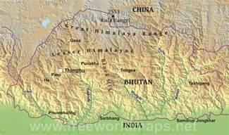 Bhutan Physical Features Map