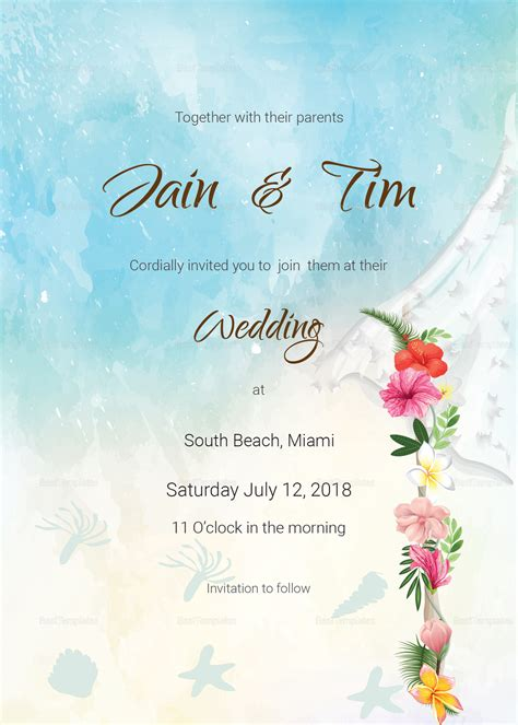 Beach Wedding Invitation Card Template in PSD Word