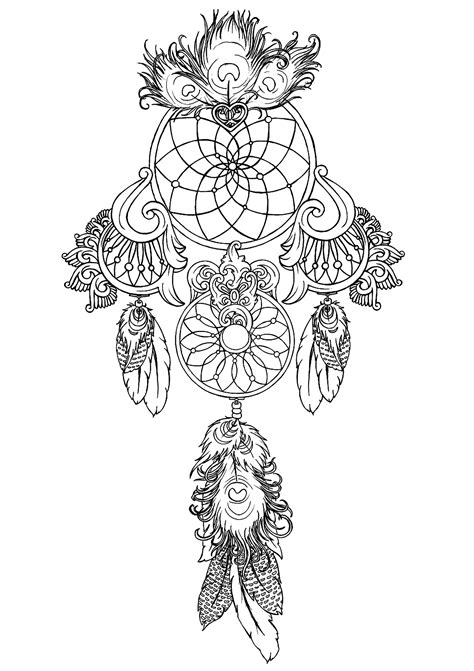 dreamcatcher  print  zen  anti stress coloring