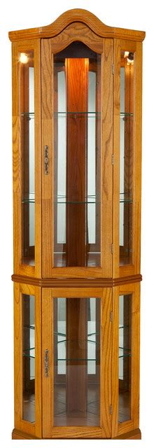 lighted corner curio cabinet traditional china