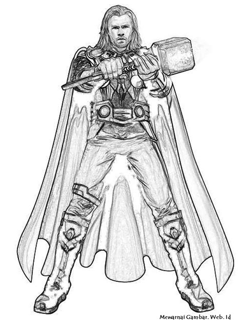 thor  superheroes printable coloring pages