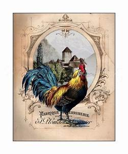 French Country Rooster Wall Art, French Chateau Rooster I ...
