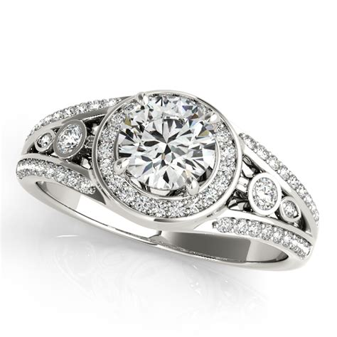 vintage wide band halo diamond engagement ring  white
