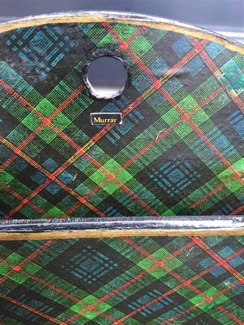 scottish large green tartan letter holder shelf circa    sale  stdibs