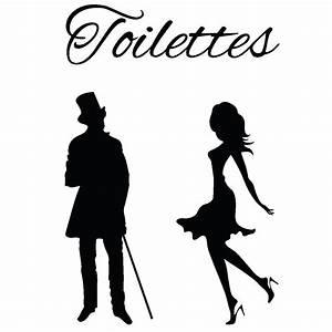 Sticker porte toilettes silhouettes homme et femme Stickers Toilettes Porte Ambiance sticker