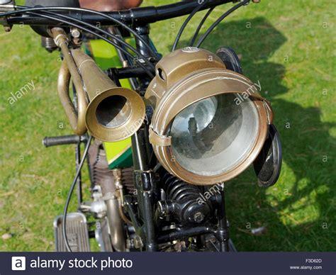 Brass Horn And Acetylene Headlamp (carbide Lamp) On A 1920