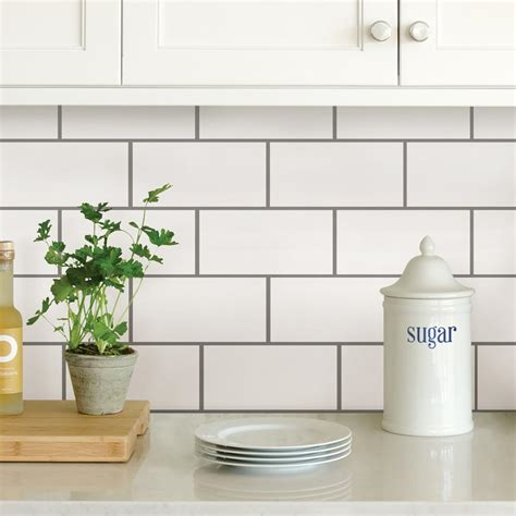 wallpops white subway peel stick backsplash tiles nh