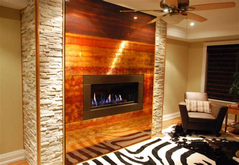 copper fireplaces oakville custom copper fireplace feature modern living