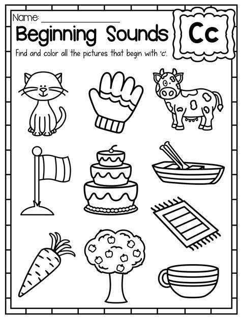 beginning sounds worksheets color by sound letter c
