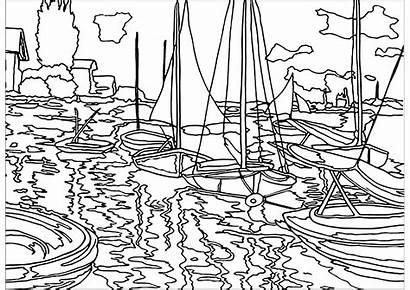 Monet Coloring Claude Pages Seine Sailboats Children