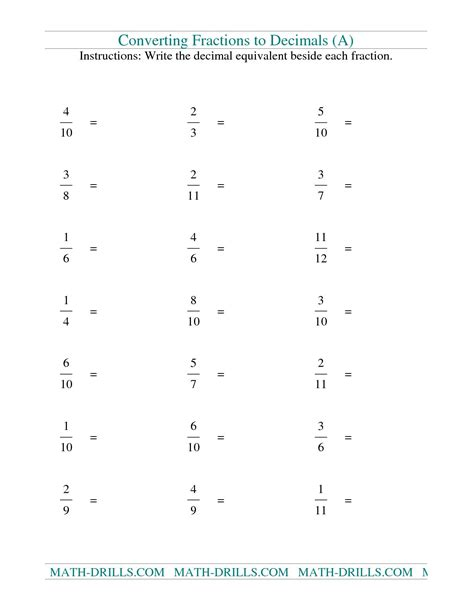 converting fractions and decimals worksheet worksheets for