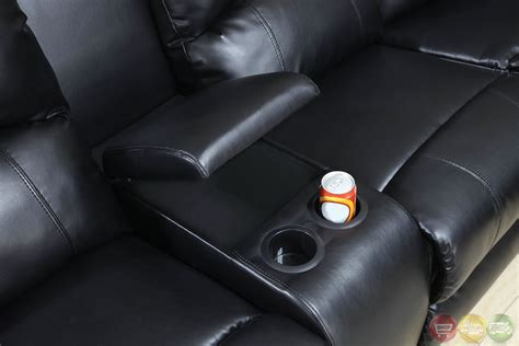 aberdeen black bonded leather sectional sofa set wcup holders
