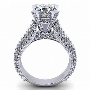 265 ct pave set round cut diamond engagement ring With pave wedding ring sets
