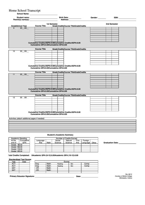 Homeschool Transcript Template Top 9 Homeschool Transcript Templates Free To In