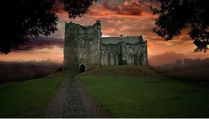 Castle Landscape Path Ruins Medieval Sunset Trust